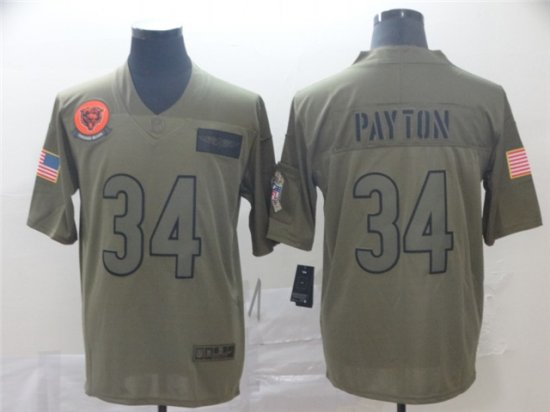 Chicago Bears #34 Walter Payton 2019 Olive Salute To ...