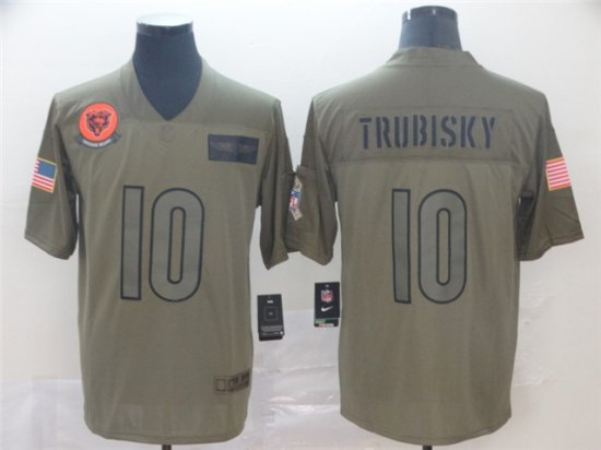 Chicago Bears #10 Mitchell Trubisky 2019 Olive Salute To ...