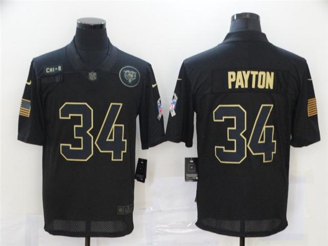 Chicago Bears #34 Walter Payton 2020 Black Salute To ...