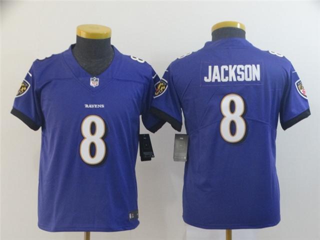 Youth Baltimore Ravens #8 Lamar Jackson Purple Vapor ...